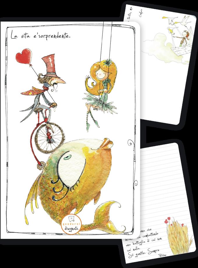 Quaderno A6 con una frase sulla vita e illustrazione da circo in copertina