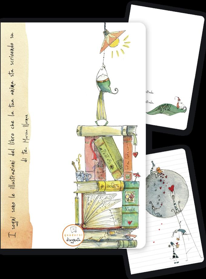 Quaderno A6 con una frase e illustrazione sui libri in copertina
