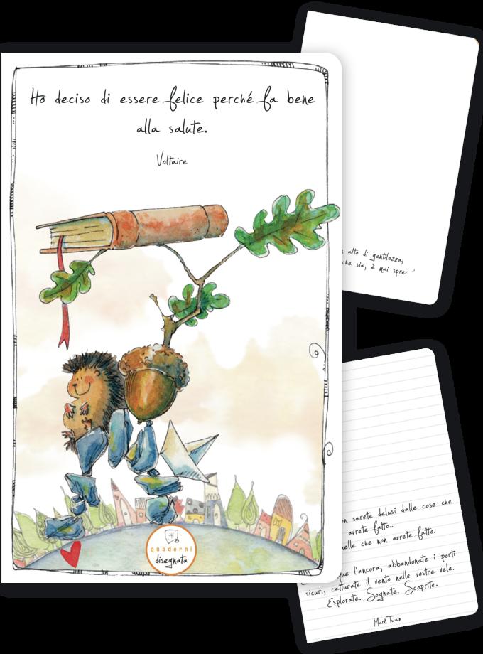 Quaderno A6 con una frase sulla felicità e un riccio illustrato in copertina