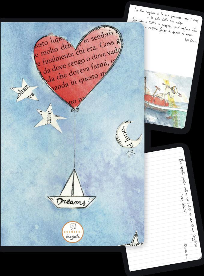 Quaderno A6 con illustrazioni ed aforismi - Copertina con un cuore e la parola DREAMS