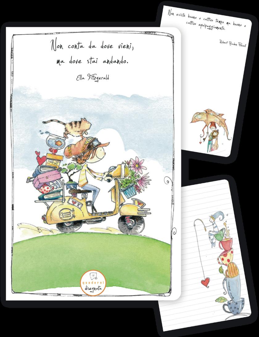 Quaderno A6 illustrato, i copertina una ragazza in Vespa e una frase sui cambiamenti