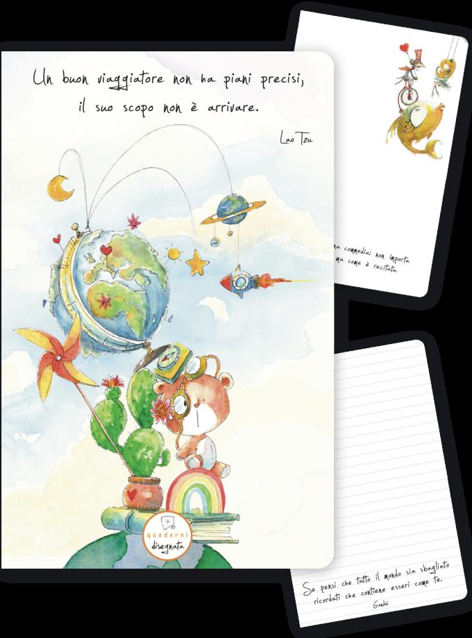 Quaderno A6 illustrato con una frase di Lao Tzu in copertina