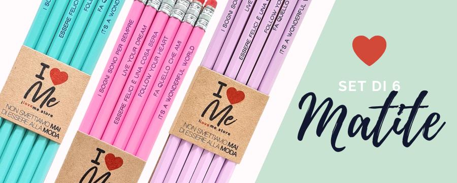 Set di 6 matite con messaggio metallizzato - Scopri i 3 colori disponibili