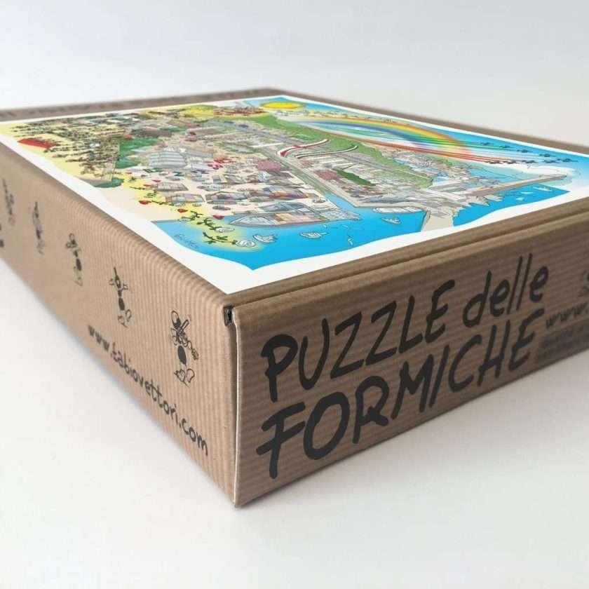 Puzzle Genova e il Ponte del Cuore - Le Formiche di Fabio Vettori - scatola