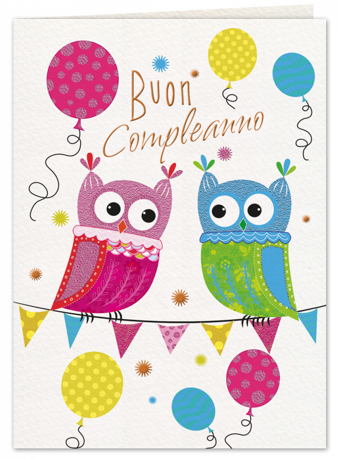 Gufi e palloncini - Biglietto di compleanno per bambini