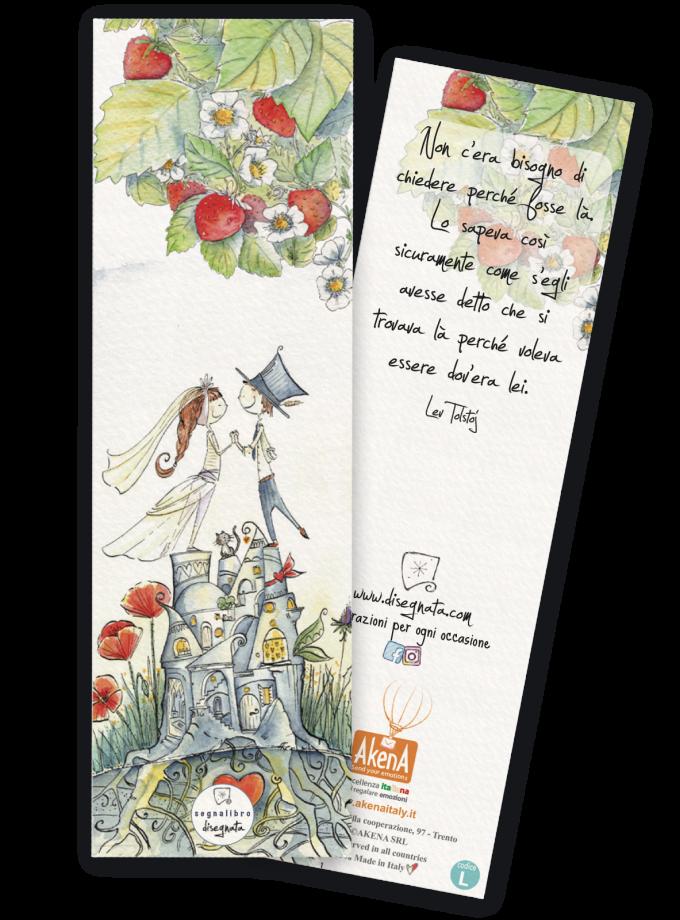 Segnalibro per bomboniera matrimonio illustrato e con frase sull'amore - Ecologico e 100% made in Italy