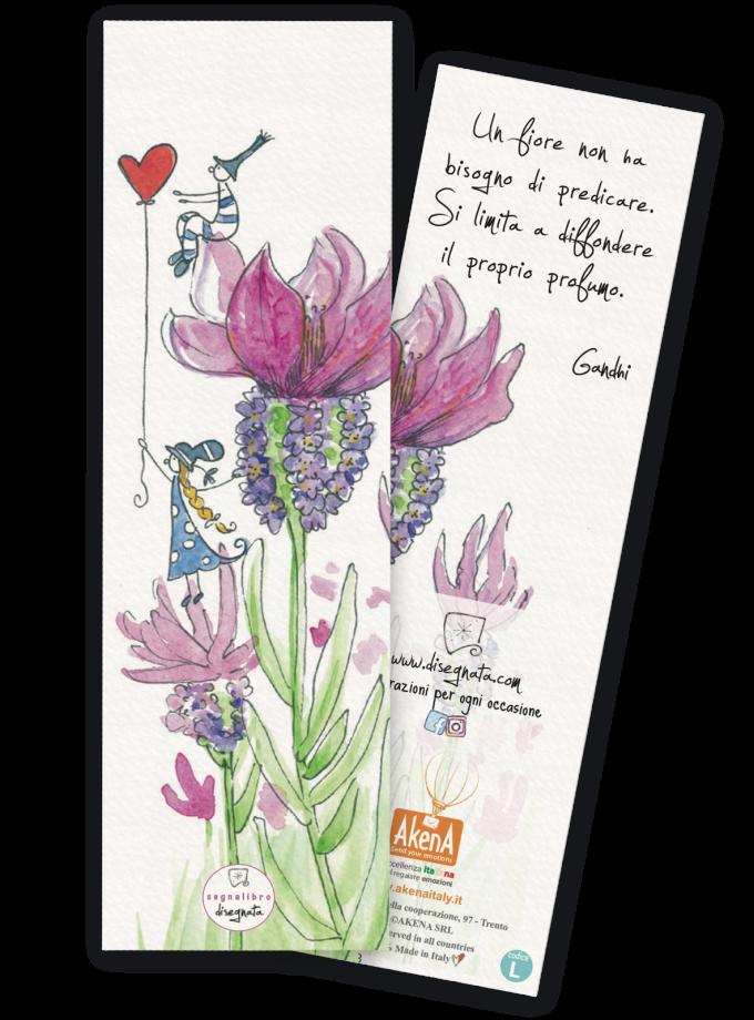 Segnalibro illustrato con una citazione di Ghandhi sul retro - 100% made in Italy
