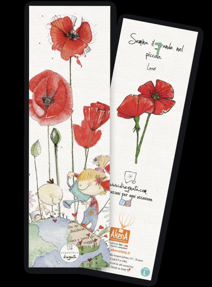 Due bambini annaffiano i papaveri rossi - Segnalibro illustrato 100% made in Italy