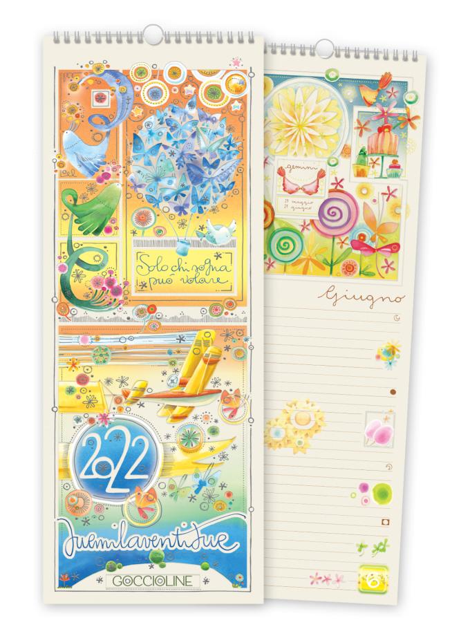 Calendario da parete Goccioline 2022 - Copertina illustrata con farfalle, fiori e uccellini