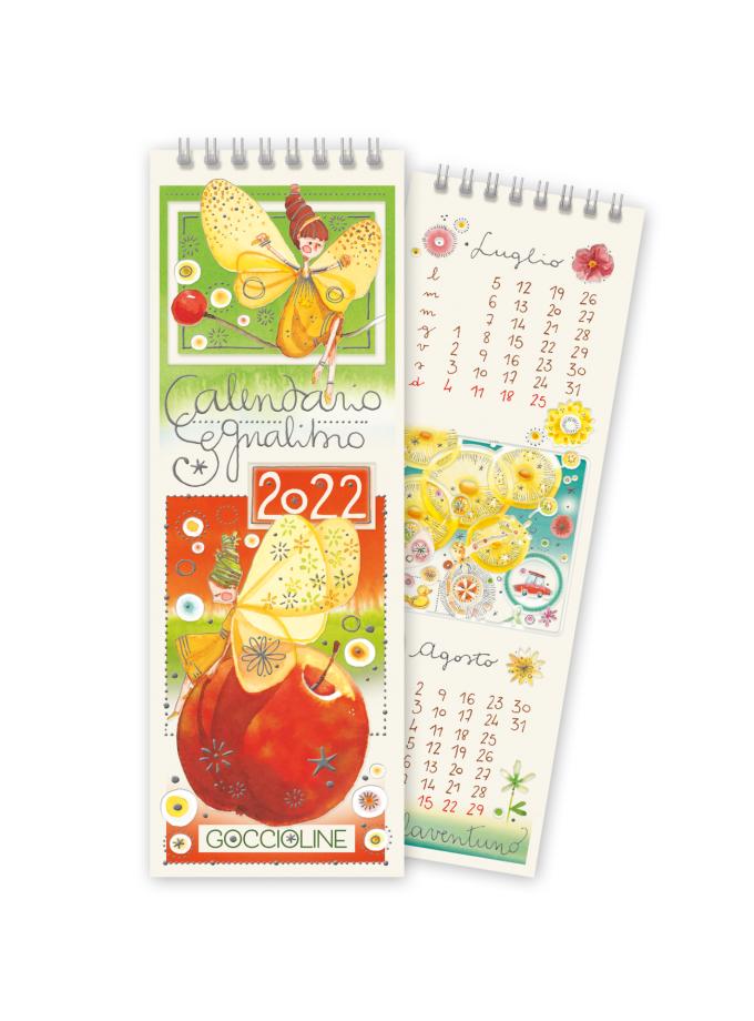 Calendario segnalibro Goccioline 2022 - Copertina illustrata con due fatine e una mela rossa