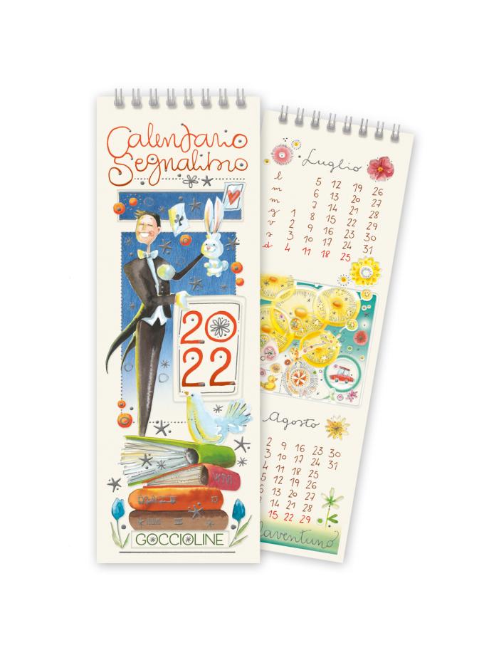 Calendario segnalibro Goccioline 2022 - Copertina illustrata con una mago e una pila di libri