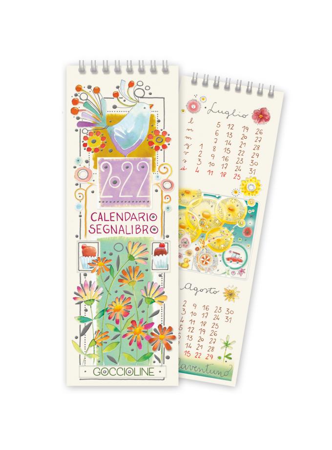 Calendario segnalibro Goccioline 2022 - Copertina illustrata con fiori e un uccellino