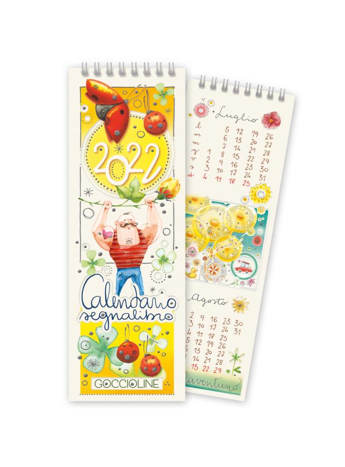 Calendario segnalibro Goccioline 2022 - Copertina illustrata con un uomo forzuto e coccinelle rosse