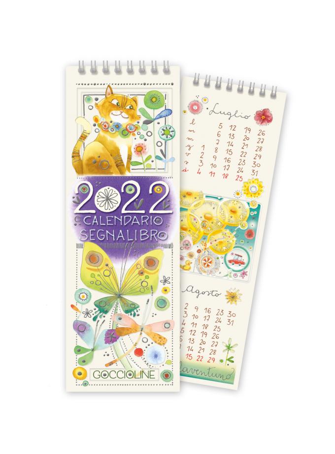 Calendario segnalibro Goccioline 2022 - Copertina illustrata con un gatto rosso e tante farfalle colorate