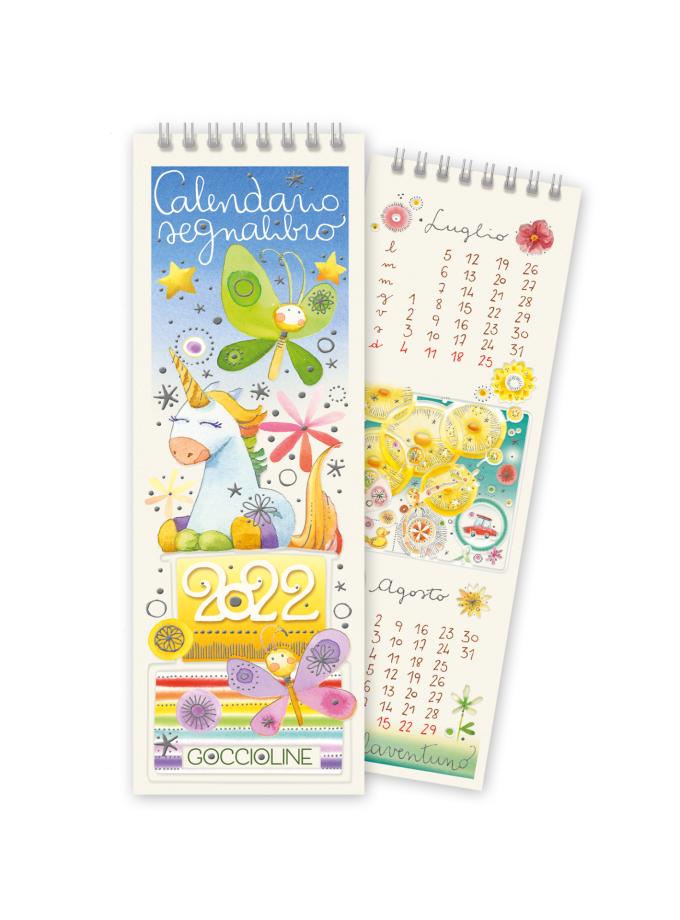 Calendario segnalibro Goccioline 2022 - Copertina illustrata con un unicorno e simpatiche farfalle