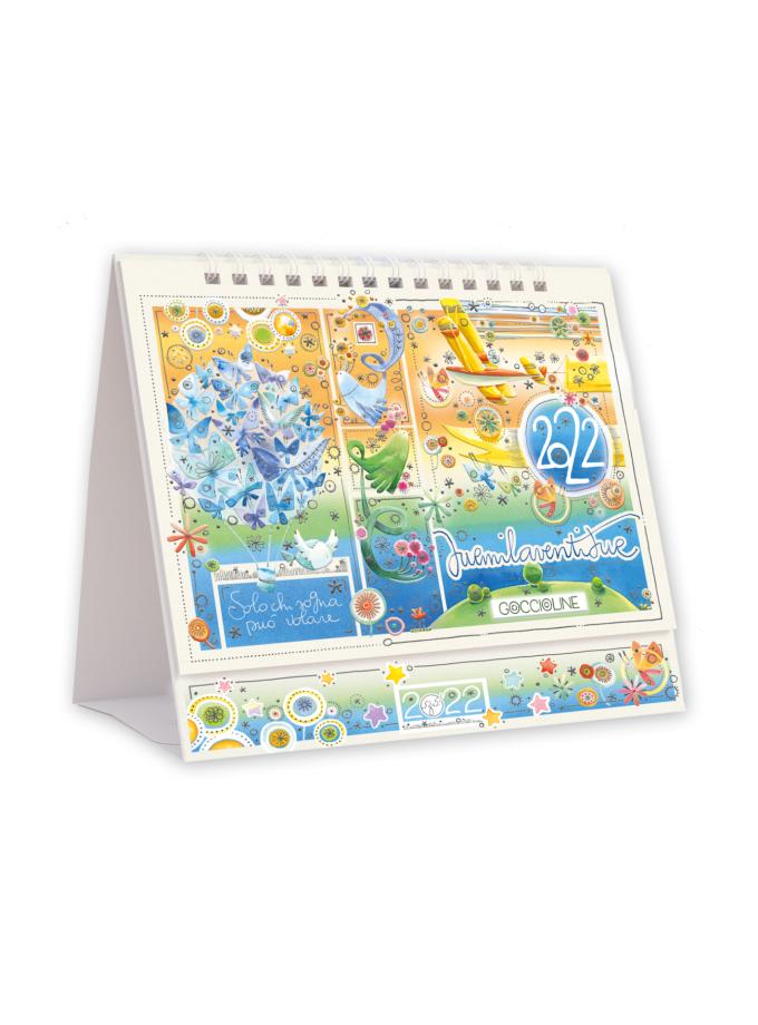 Calendario da tavolo Goccioline 2022 - Copertina illustrata con farfalle, fiori e uccellini