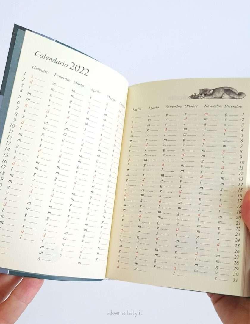 Agenda giornaliera Gatteria calendario 2022 in doppia pagina