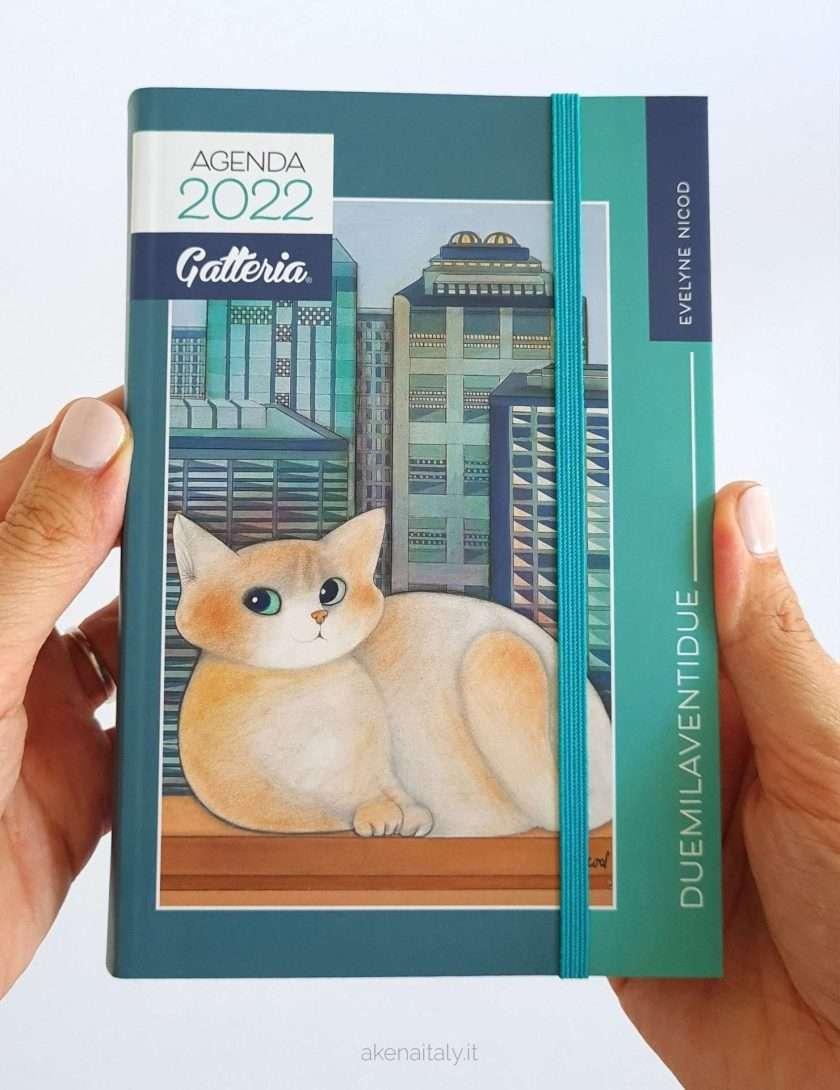 Agenda giornaliera Gatteria 2022 con copertina verde