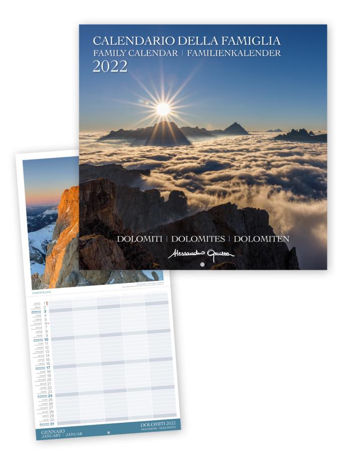 Calendario familiare con le foto delle Dolomiti 2022 - Copertina