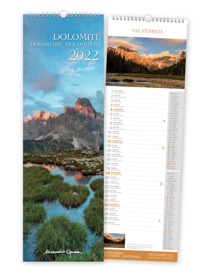 Calendario da parete 2022 con foto delle Dolomiti - Copertina