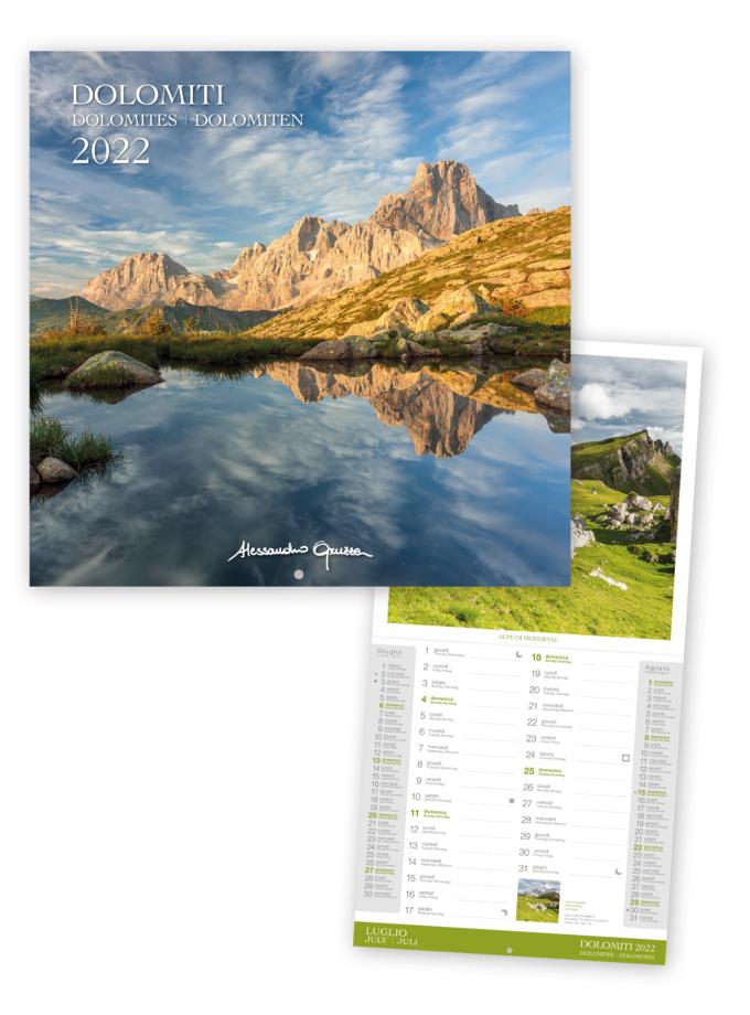 Calendario fotografico da parete quadrato Dolomiti 2022 - Copertina
