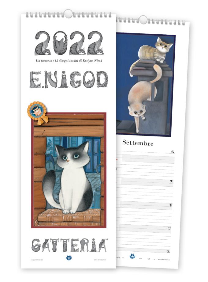 Calendario con gatti illustrato Gatteria 2022 - Copertina