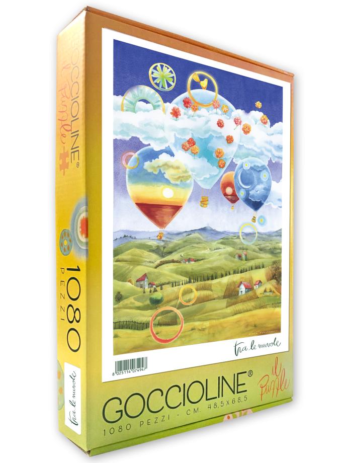 Puzzle Goccioline Mongolfiere tra le nuvole 1080 pezzi 50x70 cm - Confezione