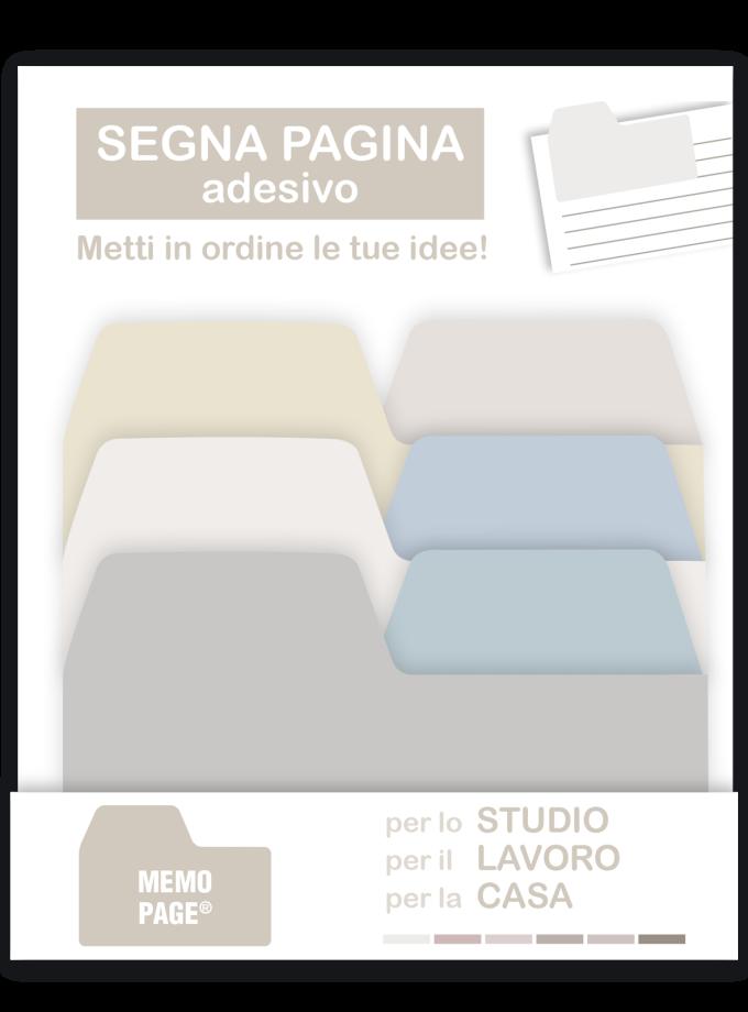Set di foglietti adesivi segnapagina grigi grandi, medi e piccoli - Akena Italy